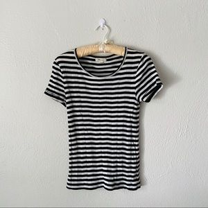 Madewell Tops - Madewell Basic White & Black Striped Tee